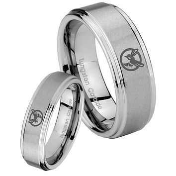 Bride and Groom Honey Bee Step Edges Brushed Tungsten Carbide Men's Ring Set