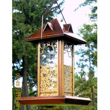 Metal & Glass Bird Feeder With Antique Copper Finish