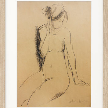 Modern Original charcoal sketch Graphic art Contemporary drawing Nude woman Figurative Fine artwork Home decor Female model Figure