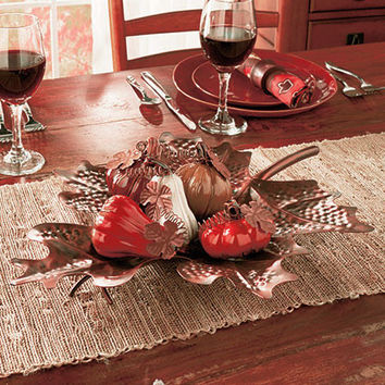 Harvest Leaf Tray Ceramic Pumpkins Table Top Centerpiece Ceramic & Metal