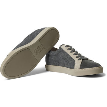 discount newest Brunello Cucinelli Suede-trimmed sneakers free shipping latest collections free shipping perfect sale online store online cheap online oxhJrS