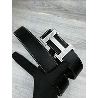 Hermes Tide brand H letter men and women smooth buckle belt #5