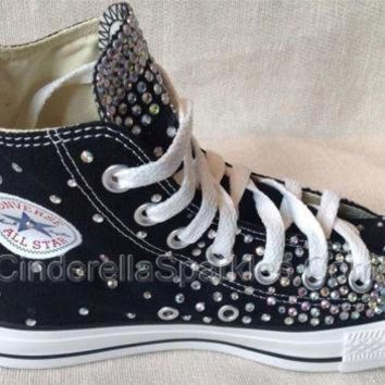 CREYUG7 Black Chuck Taylor High Top Crystal Rhinestone Converse Bridal Prom Romany Shoes