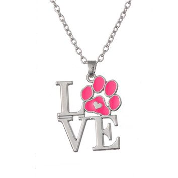 Pink red Enamel Animal Pet Dog Cat Paw Print Heart Pendant Necklaces