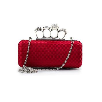[31.12] In Stock Gorgeous Red Matte Silk & Acrylic Diamond Evening Handbags / Clutches With Austrian Rhinestones - dressilyme.com