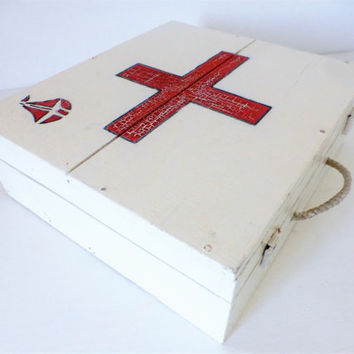 Vintage French, Wooden, First Aid Box, Hand Crafted