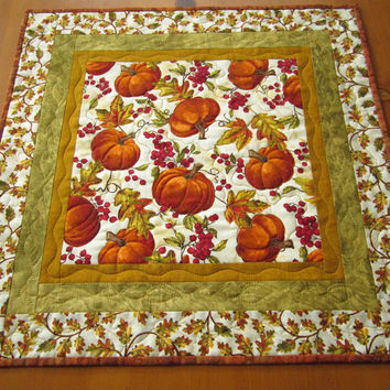 Handmade Quilted Table Topper Pumpkins and Leaves Fall Tabletop Autumn Home Decor