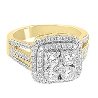 Designer 14k Gold Finish Solitaire Square Iced Out Sterling Silver Ring Band