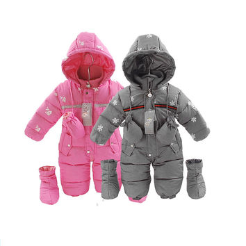 Russia winter Baby Snowsuit Infant Girl Coats Bebes Down  Rompers 0-24 Months Jumpsuit Girl Winter Clothes Warm Jacket Outwear