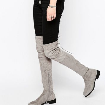Public Desire Gray Flat Tie Back Over The Knee Boot
