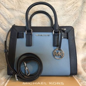 NWT MICHAEL KORS LEATHER DILLON TZ SMALL SATCHEL BAG IN SKY/NAVY (SALE!!)