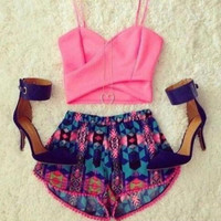Crop Top and Multicolor Printed Short Two Piece Set