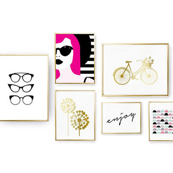 SET of 6 Prints, Pop Art Chic, Glamour Decor, Enjoy Set Posters, Bedroom Decor, Gold Foil Print, Home Decor, Bicycle Print, Big Dandelion