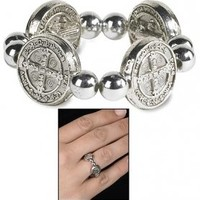 Catholic & Religious Silver Tone Saint Bendedict Exorcism Medal, St. Benedict Ring, Size: One Size Fits Most, Men or Womens Ring. Material: Zinc Alloy. Lay Catholics Are Not Permitted to Perform Exorcisms but They Can Use the Saint Benedict Medal, Holy Wat
