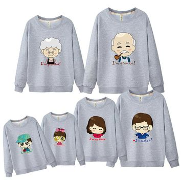 Sweatshirts Family Look Grandpa Grandma Father Mother Son Daughter Hoodie Children Clothing Boys Sweaters and Pullovers DC314