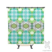 Turquoise Blue, BOHO, Chic, vintage, Custom, Printed, Fabric, Shower Curtain, Bath Decor, Home Decor, Funky, Art, by Ingrid Padilla
