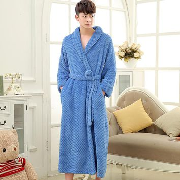 On Sale Mens Thick Waffle Extra Long Kimono Bath Robe Soft as Silk Bathrobe Men Warm Winter Robes Male Dressing Gown Nightgowns