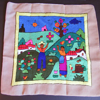 Vintage Handmade Pillow Cover, Cushion Cover, Folk Art, Crewel Embroidery, Colorful, Boho, Bohemian Decor