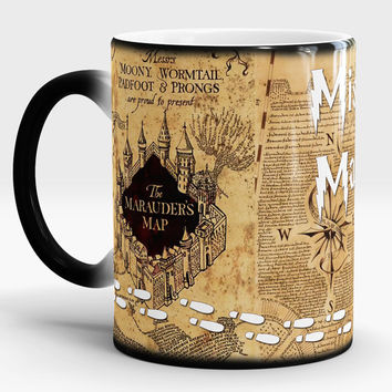 Harry Potter Mug, Marauders Map, Color changing, Magic cup, Gift idea