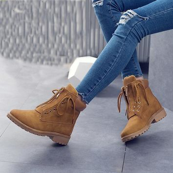 Women Shoes 2018 Winter Boots Women dr martens Boots Fenty Beauty Ankle Boots PU Plush Warm Winter Shoes Women bota feminina