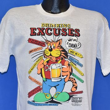 80s Drinking Excuses Chester Chesterfield Funny t-shirt Medium