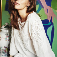 White Linen Lace Patchwork Ruffle Blouse