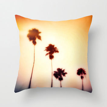 Pillow Cover, Mango Orange Beach Surf Palm Trees Throw Pillow, Boho Hippie Chic Loft Bungalow Accents, Bed Couch Living 16x16 18x18 20x20
