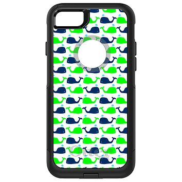 DistinctInk™ OtterBox Commuter Series Case for Apple iPhone or Samsung Galaxy - Green Navy Cartoon Whales
