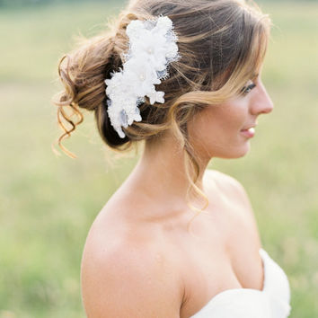 Wedding Headpiece. Bridal Lace Beaded Hair Piece. Lace Hair Comb.