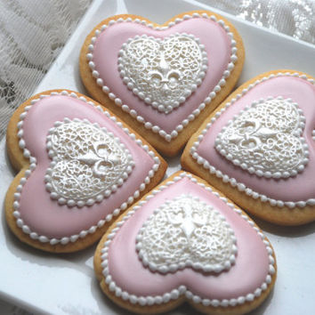 Elengant Pink & White Heart Pendant Wedding favors- One Dozen Decorated Sugar Cookies
