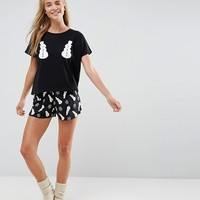 ASOS Holidays Snowman Tee & Short Pajama Set at asos.com