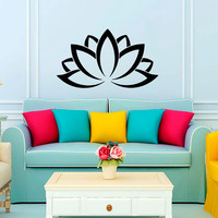 Wall Decal Vinyl Sticker Decals Art Home Decor Mural Mandala Lotus Flower Floral Indian Moroccan Pattern Yoga Namaste Flower Bedroom AN153