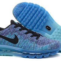 """""""Nike Air Max Flyknit"""" Men Sport Casual Rainbow Flywire Weave Air Cushion Sneakers Running Shoes"""