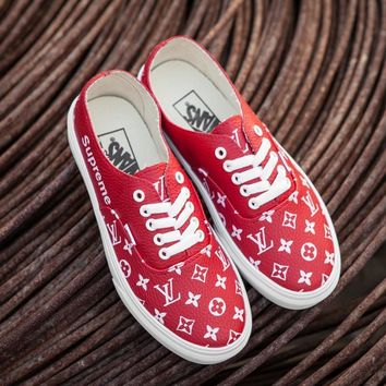 Vans x Supreme x Louis Vuitton Authentic PU Red Sneaker