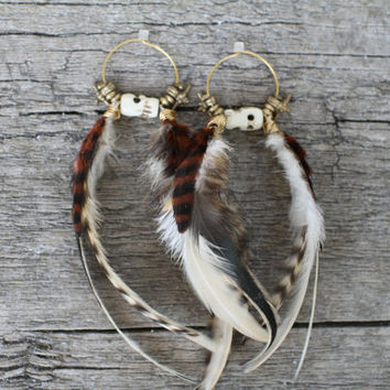 Tantric Devi Feather Earrings, Tibetan Beads, Boho, Festival, Gypsy, Yogini, Hippie, Hipster, Summer, Chic