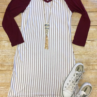 Home Team Tunic Dress 3/4: Burgundy