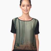 'The woods are watching' Women's Chiffon Top by mlswig