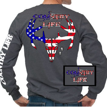 Country Life Outfitters USA American Flag Deer Skull Head Vintage Unisex Gray Long Sleeve Bright T Shirt