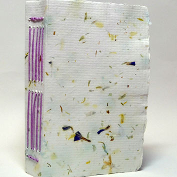 White & Purple Flowers Handmade Paper Journal, Deckle Edge, Travel Journal, To Do List, Purple Linen Thread, Historic Longstitch Binding