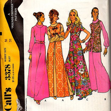 McCall's 70s Sewing Pattern 3378 One Piece Jumpsuit Disco Fashion Long Floor Length Vest Pantsuit Uncut FF Bust 38