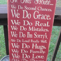 we do Grace, Family Rules, Primitive, Version 3, Subway Art, Typography, Distressed, Sign, Decor