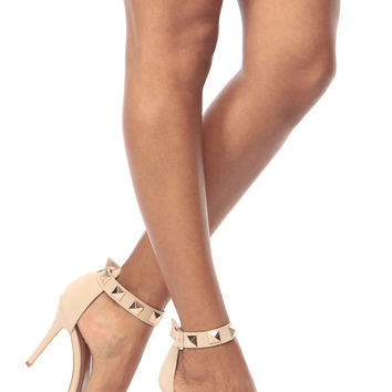 Nude Faux Nubuck Gold Studded Ankle Strap Single Sole Heels