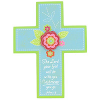 Blue & Green Wood Wall Cross with Pink Flower | Hobby Lobby | 242537