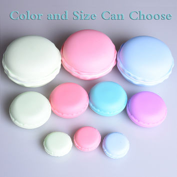Portable Candy Color 3 size Cute Macarons Jewelry Ring Necklace Carrying Case Earphone Organizer Storage Box Case Carrying Pouch