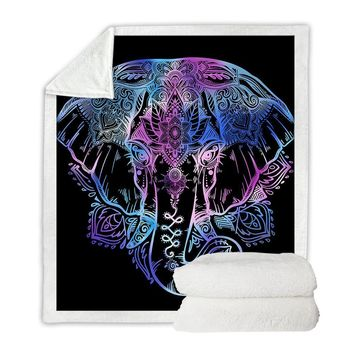 Lotus Elephant Boho Throw Blanket