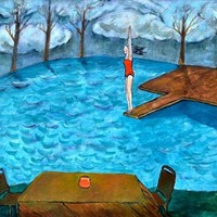 Acrylic Painting - Diving Off the Lake Dock Before the Storm