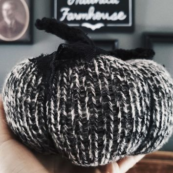 Pumpkin PIllow in Gray, Black and White, Embellished with Black Lace, Tattered Stem