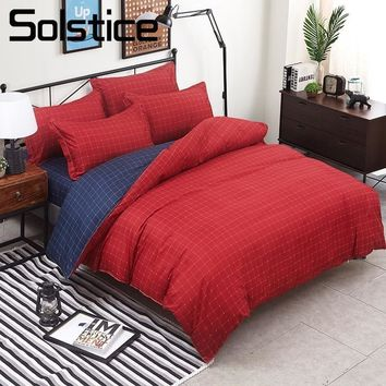 Cool Solstice Home Textile King Twin Full Queen Bedding Set For Kid Adult Boy Girl Red Blue Plaid Stripe Duvet Cover Pillowcase SheetAT_93_12