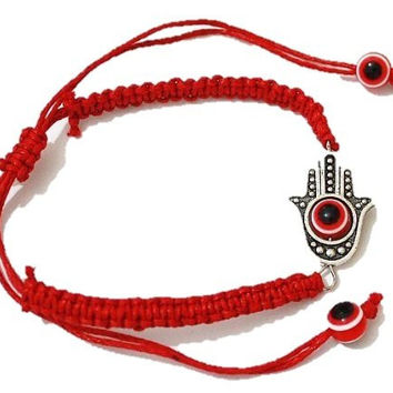 Good Luck Red String, Macrame Hamsa Kabbalah Judaica Adjustable Bracelet with Evil Eye Charm ~ Great Quality ~ Beautiful Design ~ 100% Satisfaction Guarantee!