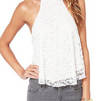 White Lace Halter Neck Vest